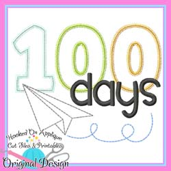 #HOA1008 100 Days Paper Plane Applique