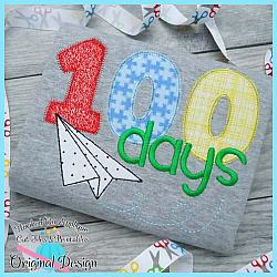 100 Days Paper Plane Applique