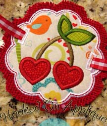 Heart Cherries Scallop & Badge Applique