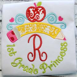 First Grade Princess Tiara Applique