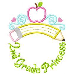 Second Grade Princess Tiara Applique