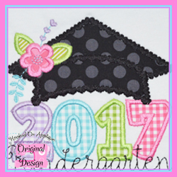 2017 Girl Grad Cap Applique