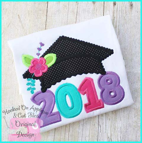 2018 Girl Grad Cap Applique