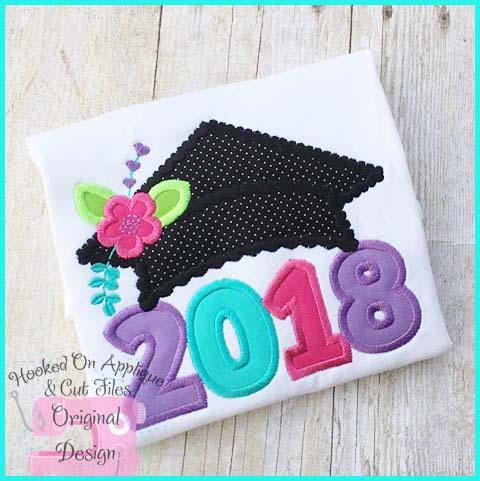 2018 Girl Grad Cap Applique
