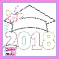 2018 Girl Grad Cap ZigZag Applique