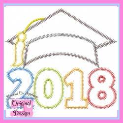 2018 Grad Cap ZigZag Applique
