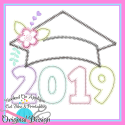 2019 Girl Grad Cap ZigZag Applique