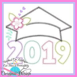 2019 Girl Grad Cap ZigZag Applique