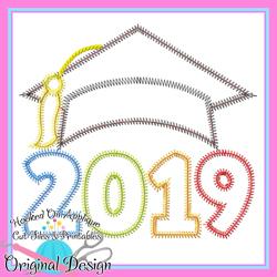 2019 Grad Cap ZigZag Applique