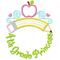 Fourth Grade Princess Tiara Applique