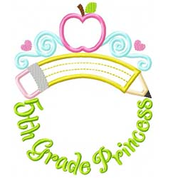 Fifth Grade Princess Tiara Applique