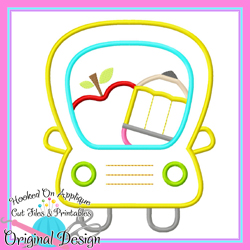School Bus Apple Applique
