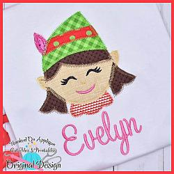 Elf Girl Zig Zag Applique