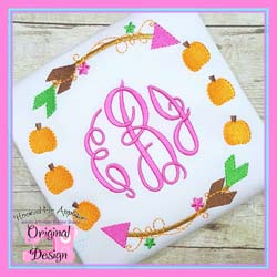 Fall Arrow Circle Embroidery Design