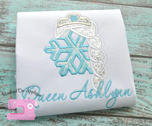 Frozen Queen Snowflake Applique