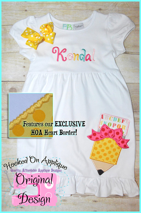 Girly Pencil Applique Design