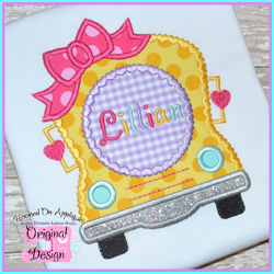 Girly Bus Applique Design