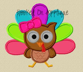 Girly Owl Turkey Applique