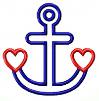 Heart Anchor Applique