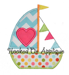 Heart Sail Boat applique