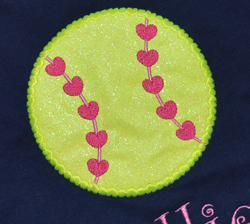 Heart Softball Applique