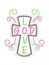 LOVE GOD Cross Applique Design