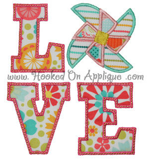 LOVE Pinwheel Applique