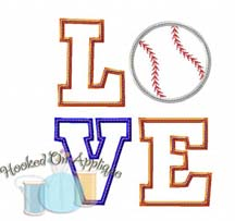 LOVE Baseball 1 Applique