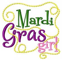 Mardi Gras Girl Embroidery Design