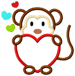 Monkey Heart Boy Applique
