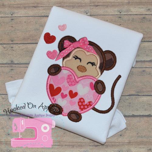 Monkey Heart Girl Applique
