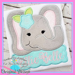 Peek Elephant Girl Applique