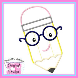 Pencil Glasses Boy Applique