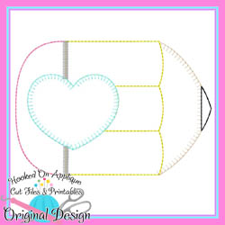 Pencil Heart Bean Applique