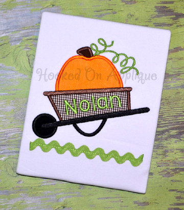 Wheel Barrow Pumpkin Applique