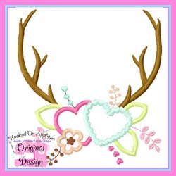 Antlers Hearts Applique