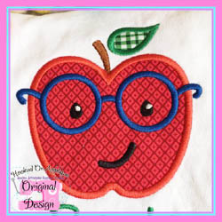 Apple Glasses Boy Applique