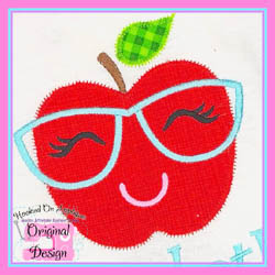 Apple Glasses Girl Zig Zag Applique
