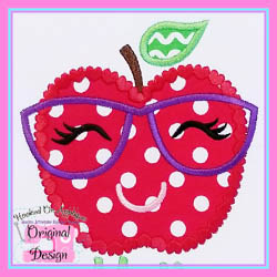 Apple Glasses Hearts Applique