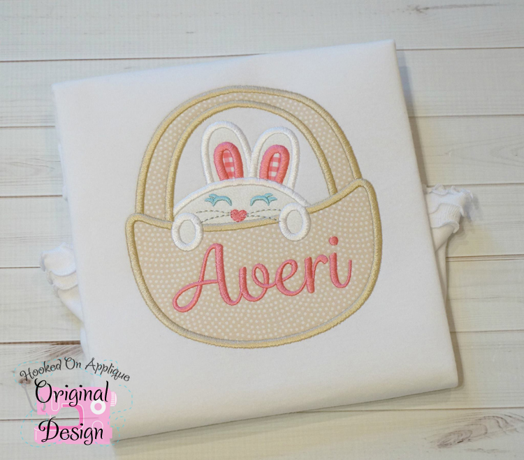 Bunny Basket Girl Applique