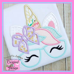 Bow Unicorn Glasses Applique