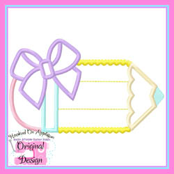Bow Hearts Pencil Applique