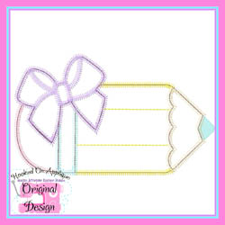 Bow Pencil Zig Zag Applique