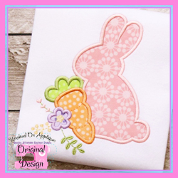 Bunny Carrot Flower Applique