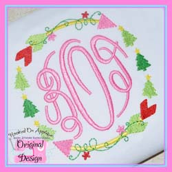 Christmas Tree Arrow Circle Embroidery Design