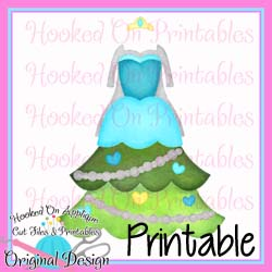 Elsa Tree Dress PNG Printable