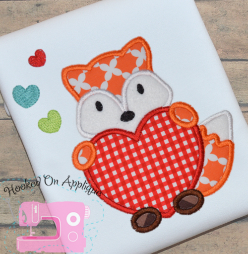 Fox Heart Boy Applique