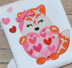 Fox Heart Girl Applique