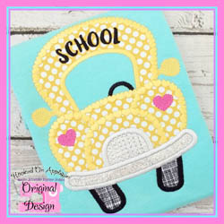 Funky Girl School Bus Applique