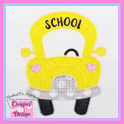 Funky Girl School Bus Zig Zag Applique